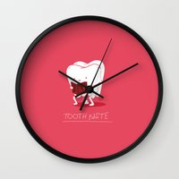 tooth Wall Clocks featuring Tooth Paste by Nabhan Abdullatif