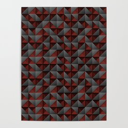 Tech Mosaic Red Poster