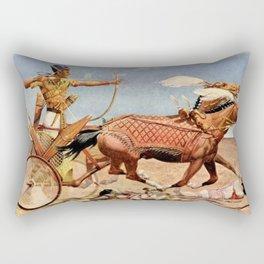 "Classical Masterpiece ""Egyptian King Tut on Chariot"" by Herbert Herget Rectangular Pillow"