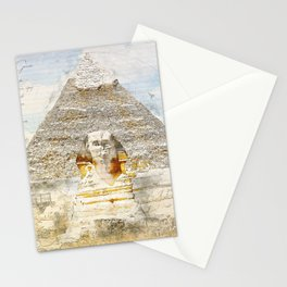 Cheops Pyramid and  Sphinx, Cairo Egypt Stationery Cards