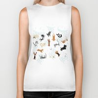 cats Biker Tanks featuring Raining Cats & Dogs by Anne Was Here