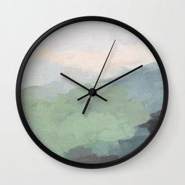 Seafoam Green Mint Black Blush Pink III Abstract Nature Land Art Painting Art Wall Clock