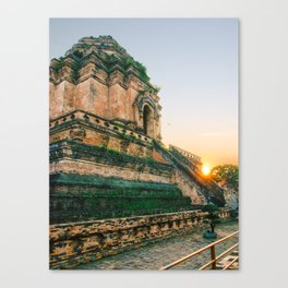 Sunset over Buddhist Temple in Chiang Mai Fine Art Print Canvas Print