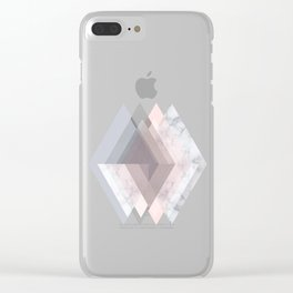 BLUSH MARBLE GRAY SCANDINAVIAN GEOMETRIC Clear iPhone Case