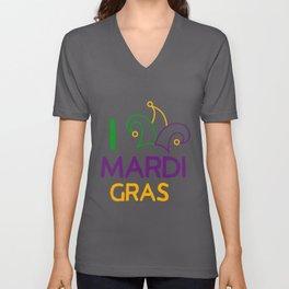 I Love Mardi Gras Fun Cajun Festival Party Gift Unisex V-Neck