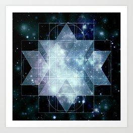 Galaxy Sacred Geometry Rhombic Hexecontahedron Blue Art Print