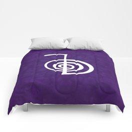 Reiki Cho Ku Rei - in purple lotus Comforters