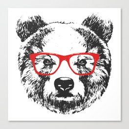 Portrait of Bear with glasses. Canvas Print