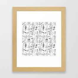 Black and white cats Framed Art Print