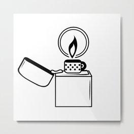 Lighter Black on White Metal Print