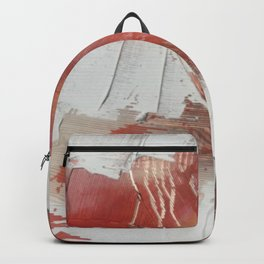 California Sun: a minimal, abstract piece in reds and gold by Alyssa Hamilton Art Backpack