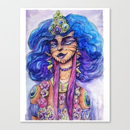 lady pretty face Original Water colour painting , Wall decor Art, Illustration, water colour Canvas Print