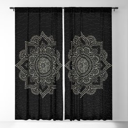 N43 - Moroccan Pure Leather with Silver Moroccan Mandala Artwork by ARTERESTING Blackout Curtain