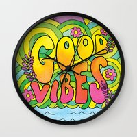 good vibes Wall Clocks featuring Good Vibes by Rachel Beyer