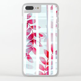 Abstract Foliage Pattern Clear iPhone Case