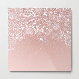 Elegant white lace floral and confetti design Metal Print