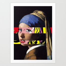Vermeer's Girl with a Pearl Earring & Lichtenstein's Girl with a Hair Ribbon Art Print