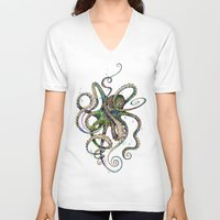 tapestry V-neck T-shirts featuring Octopsychedelia by TAOJB