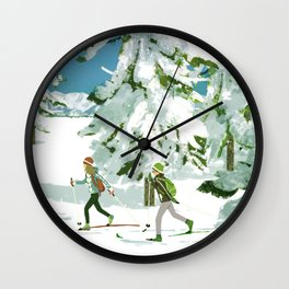 Cross Country Skiing Wall Clock