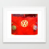 vw bus Framed Art Prints featuring VW Bus by AndreaClare