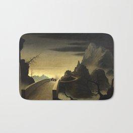 Franz Sedlacek - Mountain Landscape with Automobile - Gebirgslandschaft mit Automobil Bath Mat