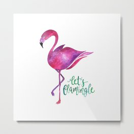 Let's Flamingle! —Version 1 Metal Print