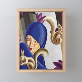 The Woman with Too Many Damn Squirrels! a portrait by Victor Bobritsky Framed Mini Art Print