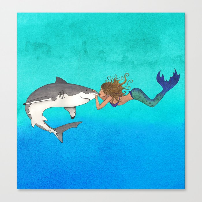 The Shark and the Mermaid Canvas Print