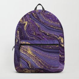 Purple Marble Glitter Gold Fluid Painting Pouring Jupiter Surface Glamorous Shiny Metallic Accents Backpack