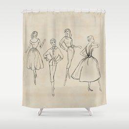 Vintage Fashion Sketches Shower Curtain