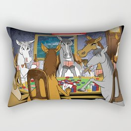 Horses Playing Poker Rectangular Pillow