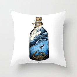Deep blue bottle Throw Pillow