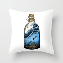 Deep blue bottle Throw Pillow