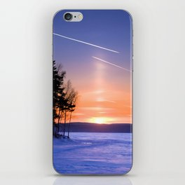 Сolumn of light and contrails iPhone Skin