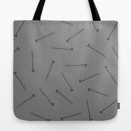 Bobby Pins on Black Tote Bag