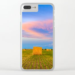 Hay Bales Sunset Clear iPhone Case