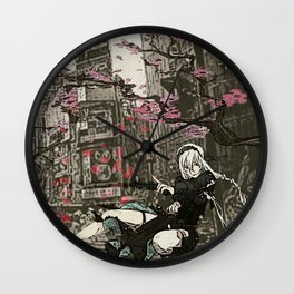 two piece shoot out in neo tokyo... by rmd Wall Clock