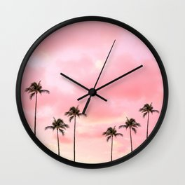 Palm Trees Photography | Hot Pink Sunset Wall Clock