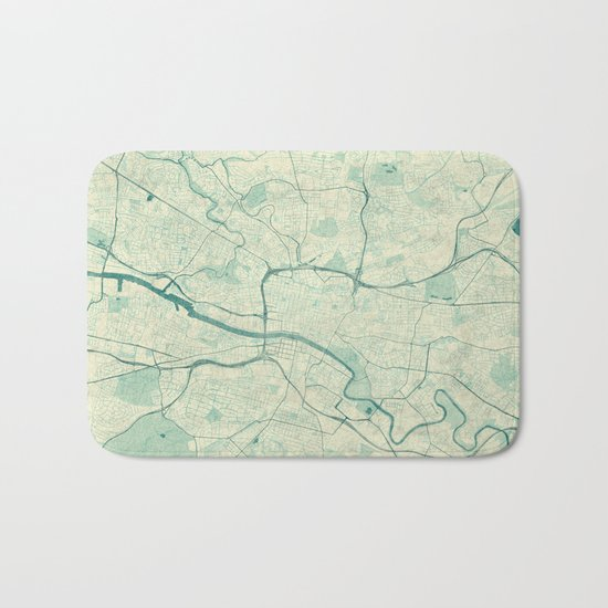 Glasgow Map Blue Vintage Bath Mat