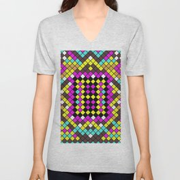 Mosaic X - Abstract, tiled, mosaic, geometric pattern Unisex V-Neck