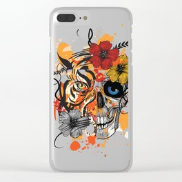 Tiger & Human Skull Clear iPhone Case