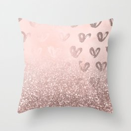 Rose Gold Sparkles on Pretty Blush Pink with Hearts Throw Pillow
