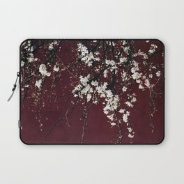 White Blossoms on Ruby Red Laptop Sleeve