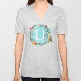 Personalized Monogram Initial Letter U Blue Watercolor Flower Wreath Artwork Unisex V-Neck