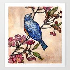 Blossom bird. Art Print