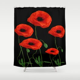 BLACK ART DECO RED POPPIES DESIGN Shower Curtain