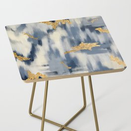 Blue and Gold Ikat Pattern Abstract Side Table