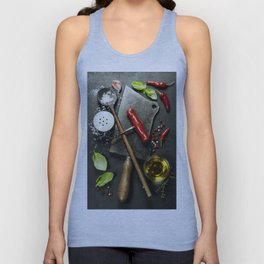 Vintage cutlery and fresh ingredients on dark background Unisex Tank Top