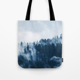 Pine forest foggy rainy day boreal pines trees landscape photo Tote Bag
