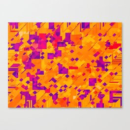geometric square pixel pattern abstract background in orange purple blue Canvas Print